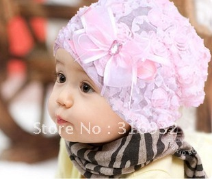 G1 New design, kids lace hat with bow knot and flowers, 2 COLORS, 5 pcs/lot