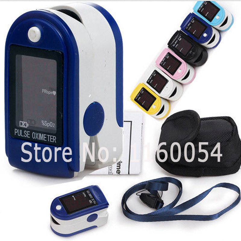 Free Ruber Case +Fingertip Pulse Oximeter Spo2 Monitor, CMS50DL Blood Oxygen Saturation Monitor, 6 colours optional(China (Mainland))