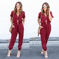 2016 Gray Casual Jumpsuit And Rompers For Women Bodycon Bandage Pant Jumpsuit V Neck Sexy Combinasion