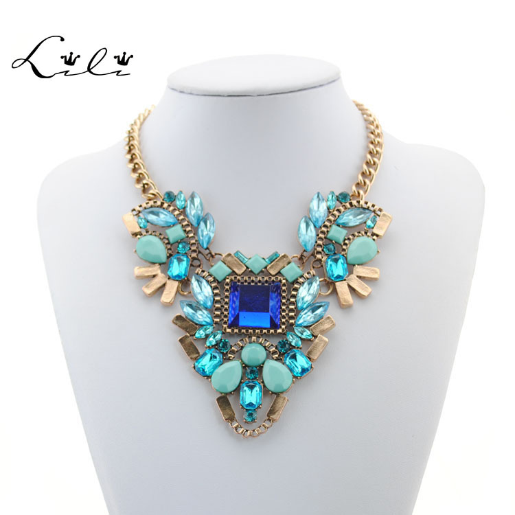 2015 New Necklace Design Fashion Chunky Necklace Choker Necklaces & Pendants Statement Jewelry for Women Vintage Necklace(China (Mainland))