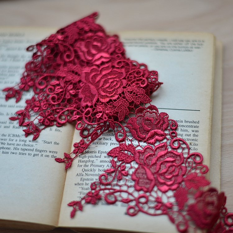 New 4meters/pack 10.5cm wide High-grade dress lace accessories dark red/dark blue lace trims flower embroidered free shipping(China (Mainland))