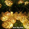 New 5cm rattan ball led string lights 20leds 5m christmas lights indoor outdoor decoration fairy lights