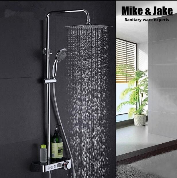 Whole brass Digital shower set with display panel with shower time display shower faucet mixer bathroom thermostatic shower set(China (Mainland))