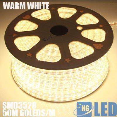 DHL FEDEX FREE SHIPPING +100M 220V voltage 3528 led flexible strip light+Power plug,warm white,60leds/m,4.8w/m,waterproof IP65(China (Mainland))