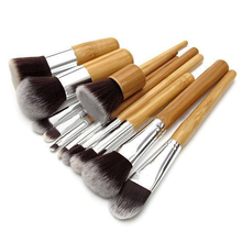 2015 Hot 11Pcs/set  Professional Wood Handle Makeup Make Up Cosmetic Eyeshadow Foundation Concealer Brushes Set  Tools
