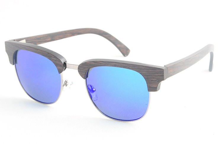 Super retro bamboo wood sunglasses mirror vintage semi rimless eyeglasses men women LS2128(China (Mainland))