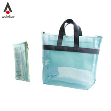 2PCS Women Handy Pouch Organizer Travel Handbags Waterproof Clothing Wash Bags Portable Beach large Cosmetic Bag Iconic Mesh(China (Mainland))