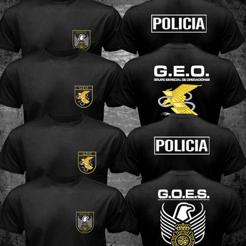 Spain National Police T-Shirt Special Forces SWAT GEO GOES Logo Espana Policia camisetas hombre tshirt homme fitness streetwear(China (Mainland))