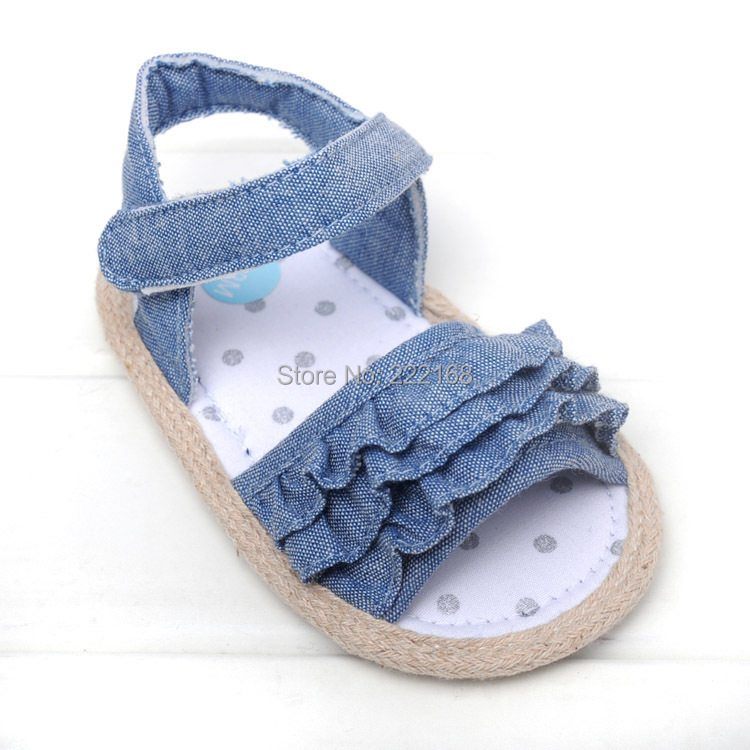 2017 Summer Style Denim Blue Soft Sole Baby Shoes Barefoot Slippers Girls First Walkers - Dongguan Babytree Garment Co.,Ltd Store store