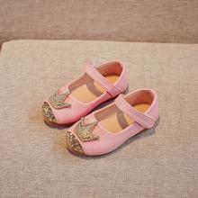 אביב ילדי נסיכת עור נעלי בנות ילדי ילדה חתונה נעל זהב שחור כתר פאייטים תינוק בנות הנעלה(China)