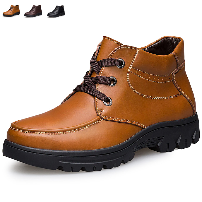 Big size leather men boots winter shoes man snow boot ankle flats male work shoe motorcycle martin cowboy lace up 522