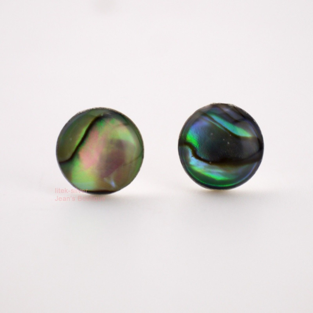 925 Sterling Silver Natural Shell Round Post Special Colors Stud Earrings A4048(China (Mainland))