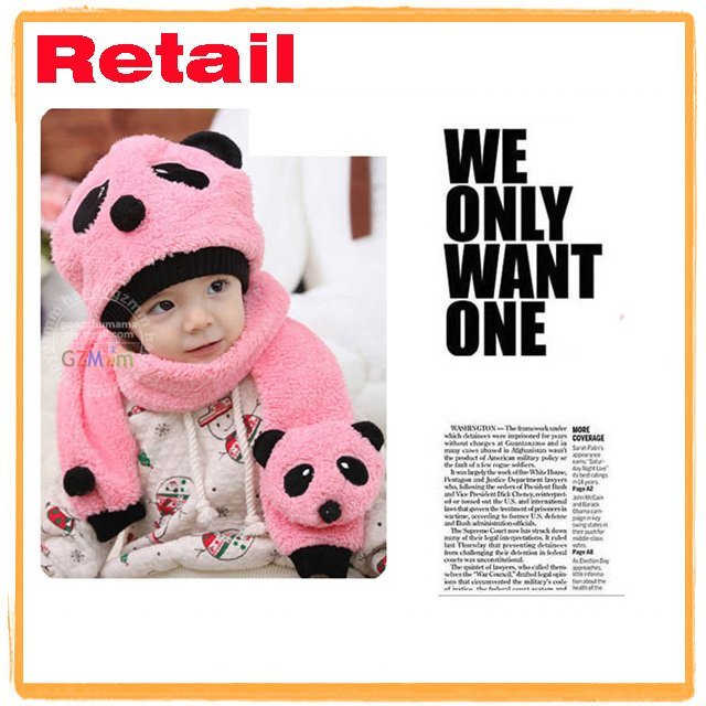 Retail Free sample 1 set only Pay the Shipping wool hat +scarf  baby hat  Panda cap Toddler hat winter warm gift