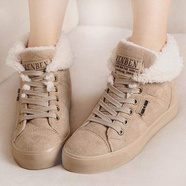New 2014 fashion fur female warm ankle boots women boots snow boots and autumn winter women shoes #Y10308Q(China (Mainland))