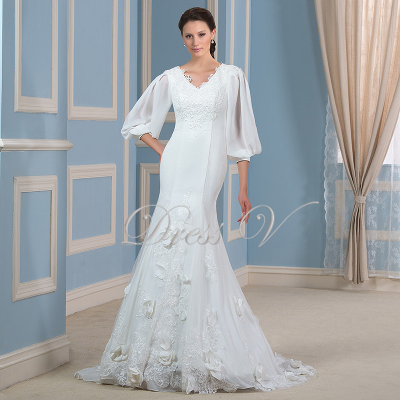 Buy gorgeous lace applique mermaid for Plus size mermaid wedding dresses with sleeves