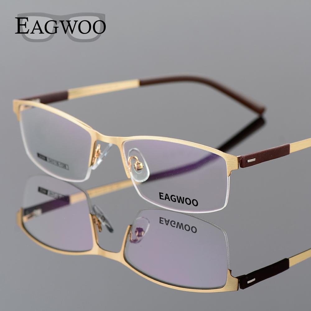 Gold Half Frame Reading Glasses : EAGWOO Business Eyeglasses Frame Half Rim Optical Glasses ...