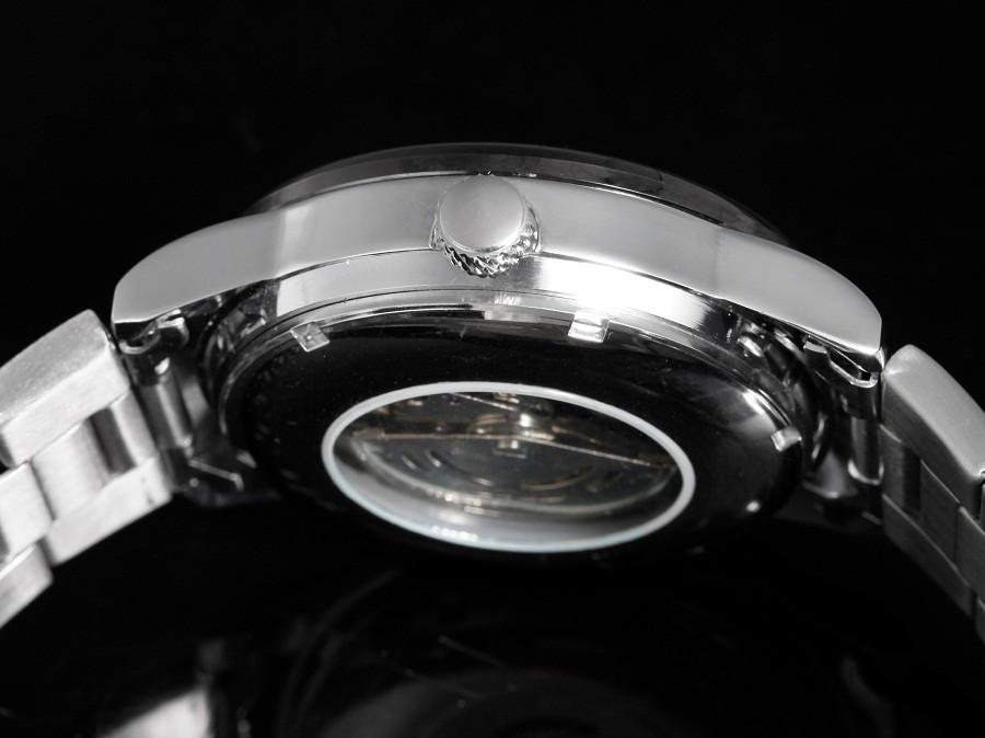GOER марка мужская Нержавеющей Стали наручные часы спорта водонепроницаемый механические мужской Световой Скелет Часы