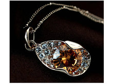 New Special Design! 18K Real Gold Plated Big Citrine Zircon with Crystal Proned Jewelry Necklace FREE SHIPPING(China (Mainland))