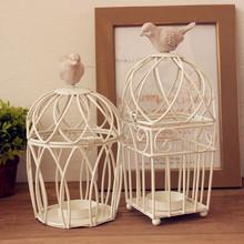 Zakka fashion white iron birdcage mousse Candle Holders novety intem two models can choose  free shipping (China (Mainland))