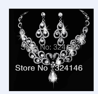 Wholesale Factory price Elegant peacock crystal bridal jewelry sets wedding necklace sets for Bride dress accessories