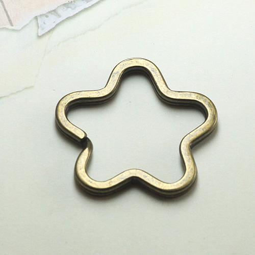 RYQY33MM Antique Bronze Stars blank key ring , keychain(China (Mainland))