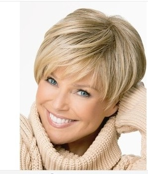 Beautiful Pixie cut style Synthetic wigs Free shipping Short Straight hair Blonde wig with Full bangs for women