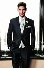 Black Groom Tuxedos Best man Suit Wedding GroomsmanMen Suits Bridegroom (Jacket+Pants+Tie+Vest)