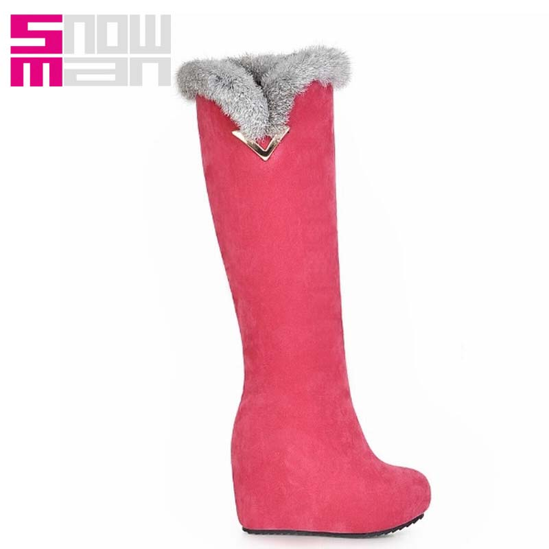 Women's Shoes Height Increasing Platform Snow Shoes Woman Women Boots Sexy Rabbit fur Knee High Snow Boots Warm Winter Boots