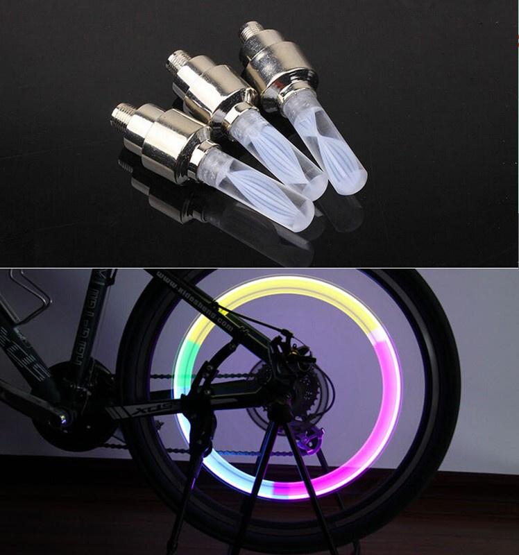 1pcs bike lights mtb mountain road bike bicycle lights LEDS Tyre Tire Valve Caps Wheel spokes LED Li