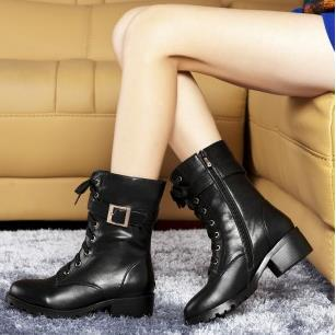 2014 autumn fashion Genuine Leather thick heel Martin boots motorcycle boots women's shoes ankle boots low heels size 34-39