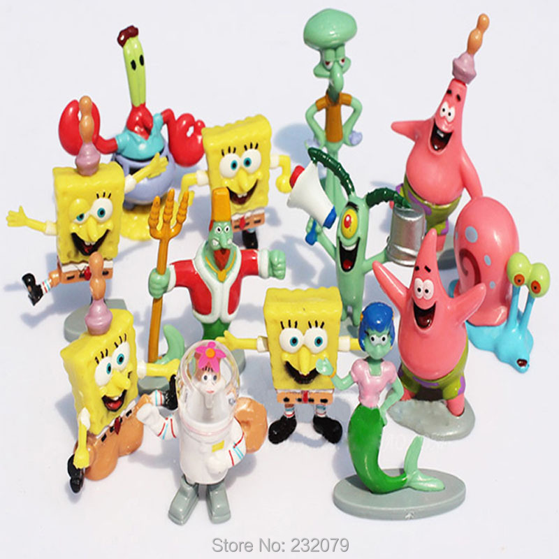 13pcs/set Spongebob Model Bob Esponja PVC Dolls Sponge Action Figures Figurine Cheap Anime Figure Kids Toys Boys Girls - Store store