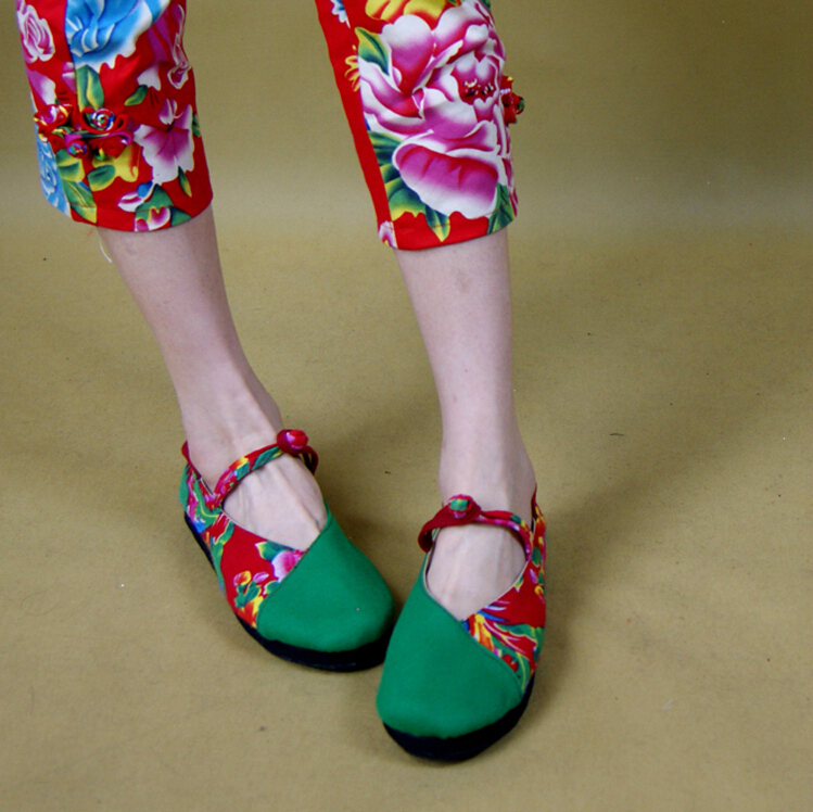 2014 women national women's Chinese style trend cotton-made flower female lacing embroidered low-top flat shoes - iGem store
