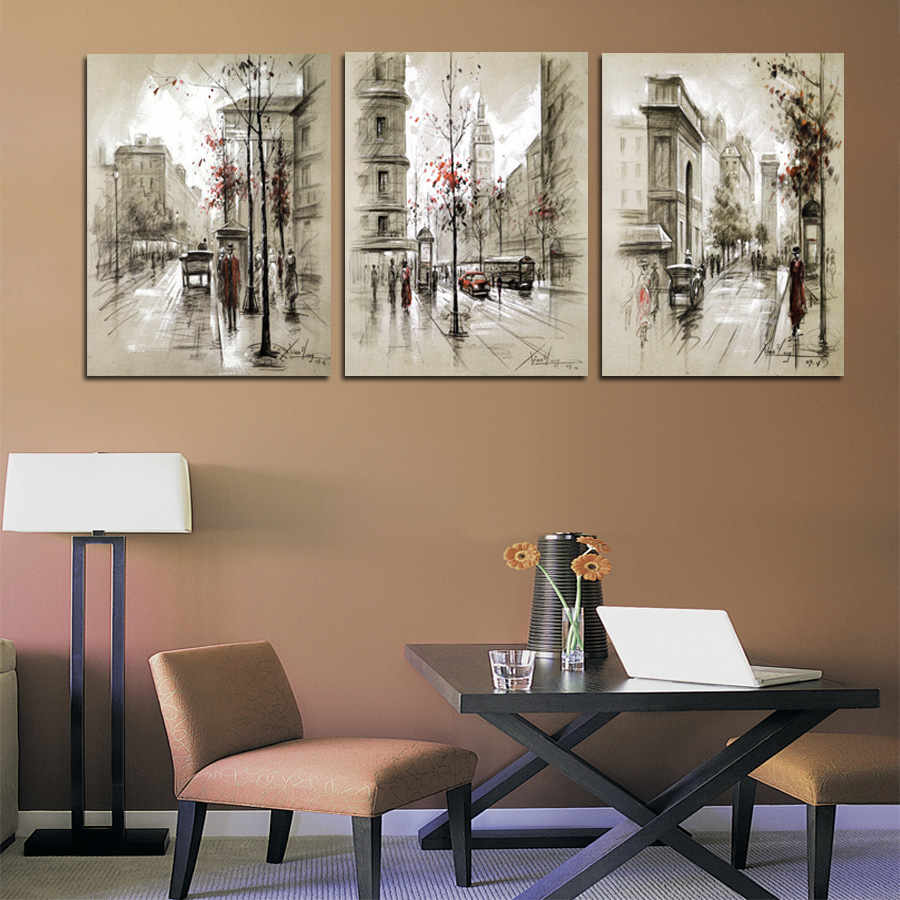 Home Decor Canvas Painting Abstract City Street Landscape Decorative Paintings Modern Wall