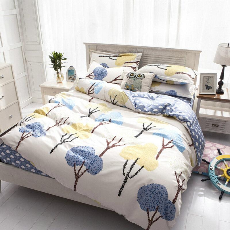 Indie Pop Bedding set 3/4pcs Nature Forest Tress Duvet Cover Set Bed Linen Sheet Pillowcase Kids Gift Home Textile(China (Mainland))