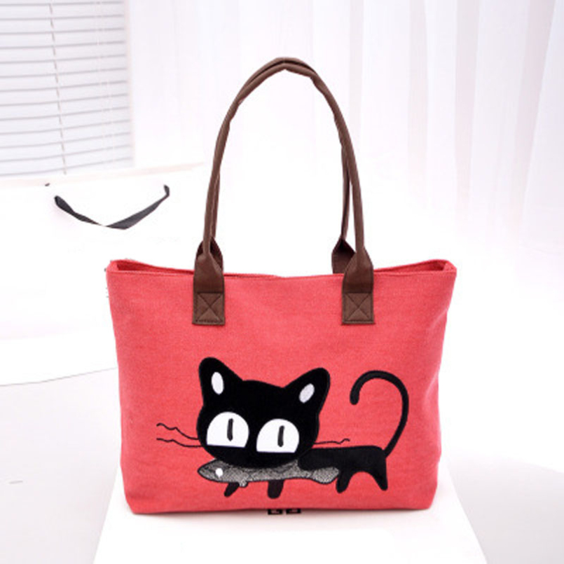 Excellent Quality New Arrival Women Canvas Bag Cute Cat Shoulder Bag Office Lunch 5 Colors Bag bolso de las mujeres for women(China (Mainland))