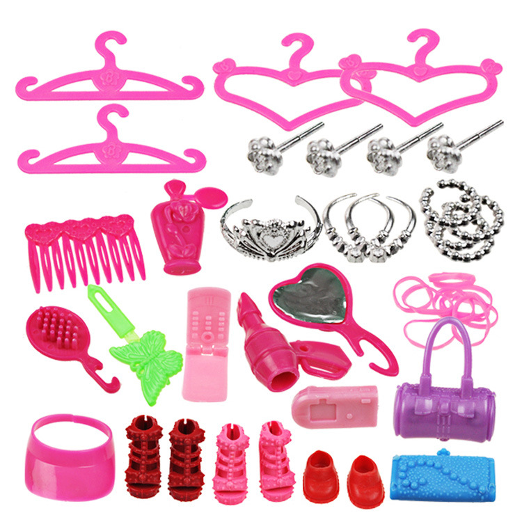 Wholesale 42 PCS/Set Accessories for Babi Monster Doll Necklace Shoes Bag High quality Comb Hanger Hairpin camera Kids toy(China (Mainland))