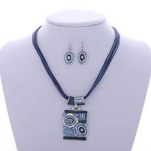 Feine Schmuck sets Neue Mode Silber Gefüllt 4 Farben Seil Kette Geometrische Multilayer Halskette Ohrring Schmuck Set Für Frauen(China)