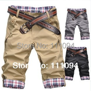2015 new arrivel spring summer fashion man shorts beach style jeans casual Cropped Trousers without belt M-XXL black gray khaki  -  Men's clothing base store