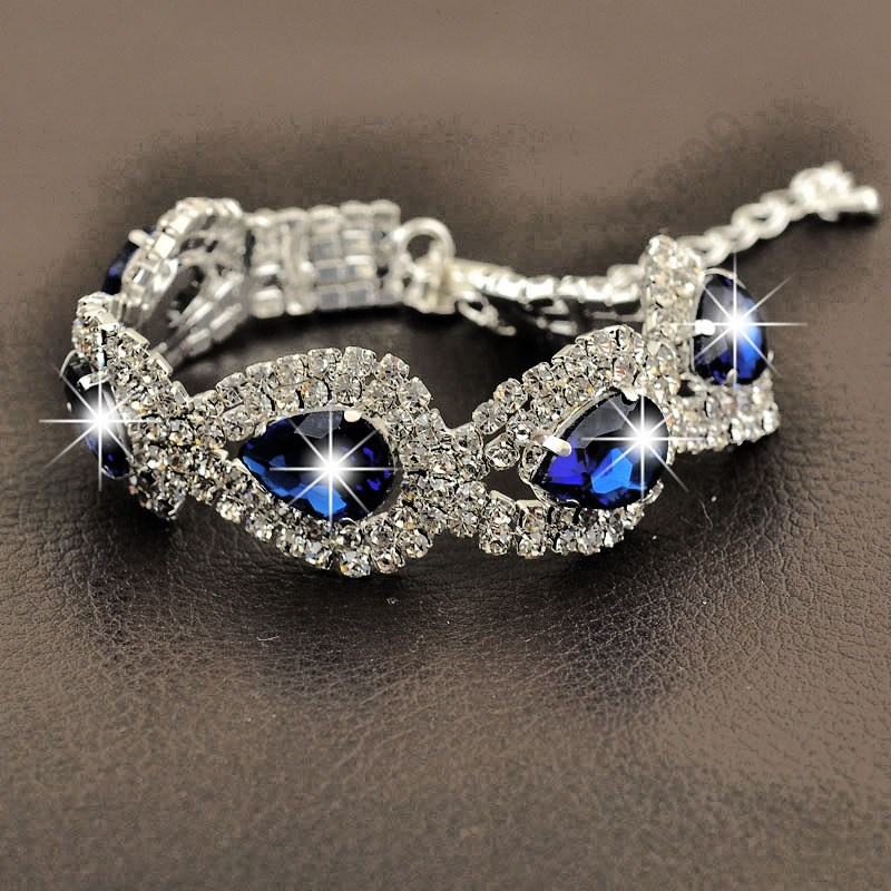 Fast Free Ship Luxury 925 Sterling Silver Shiny SWA Austrian Crystal Woman Bracelet Water Drop Wedding Party Engagement Jewelry - Online Store store