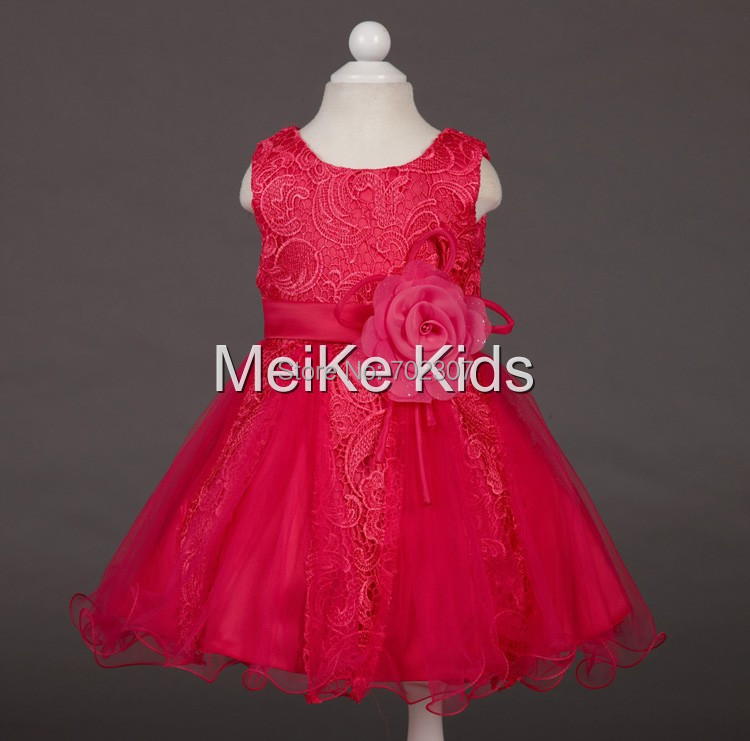 Beautiful Embroidered lace dress Girls wedding dress 2015 high quality flowers girls party dress 12pcs/lot free DHL P-40<br>