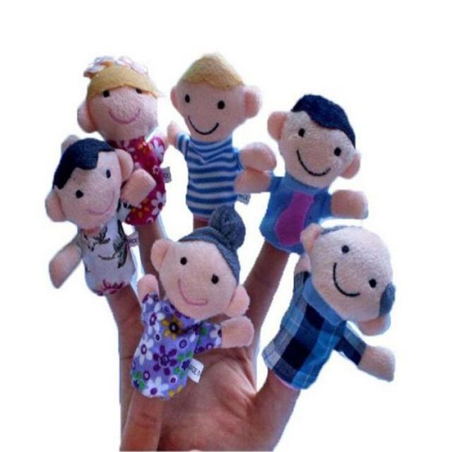 6 шт./лот Семья Finger Куклы Кукла Тканью Детские Развивающие Игрушки Kid Мультфильм История Плюшевые Игрушки Бесплатная Доставка