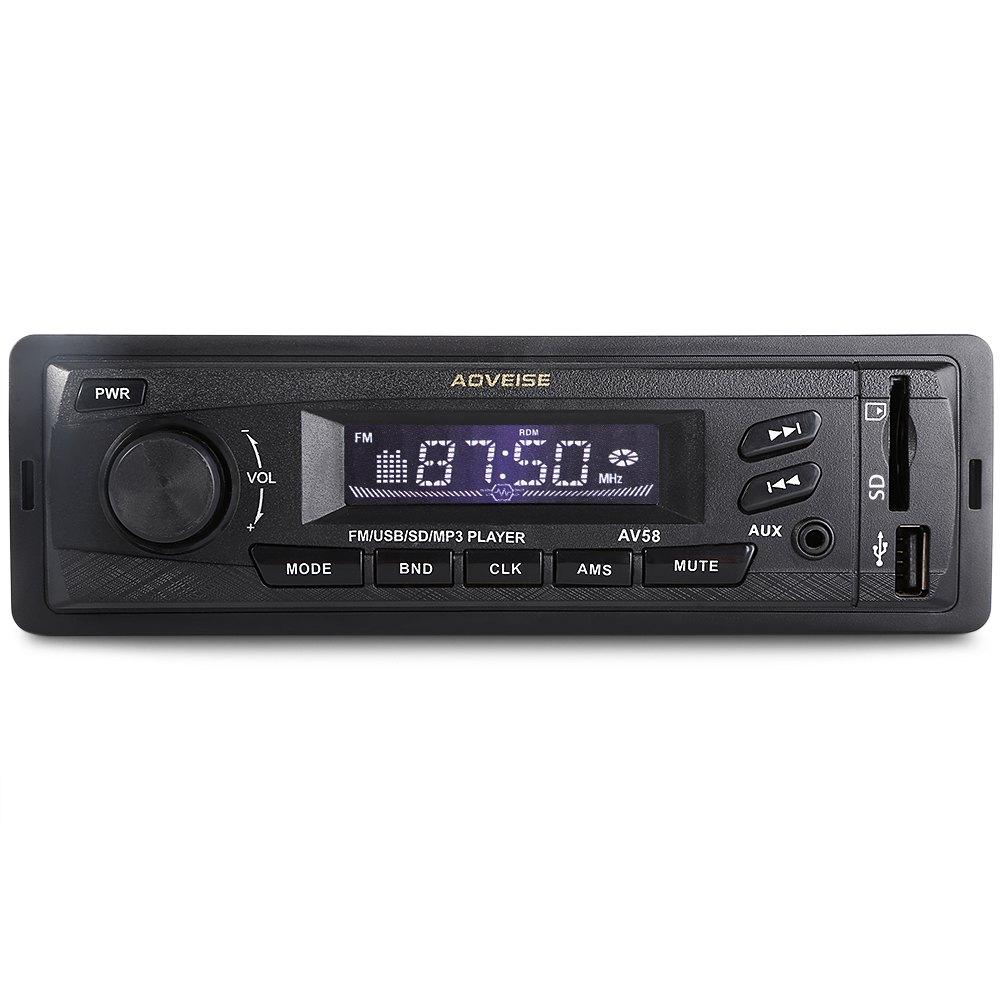 Car Audio Stereo High-definition FM Radio USB SD AUX Mp3 Player LCD Display Screen One-way Video Output Digital Clock AV58 12V