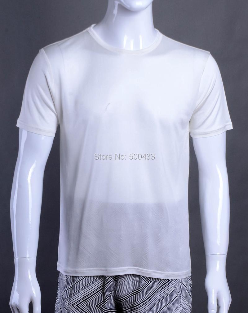 1pc mens 100 pure silk t shirt casual tee size m l xl xxl for Silk white t shirt