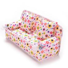 Mini Furniture Flower Sofa 20cm Couch +2 Cushions For Doll House Accessories(China (Mainland))