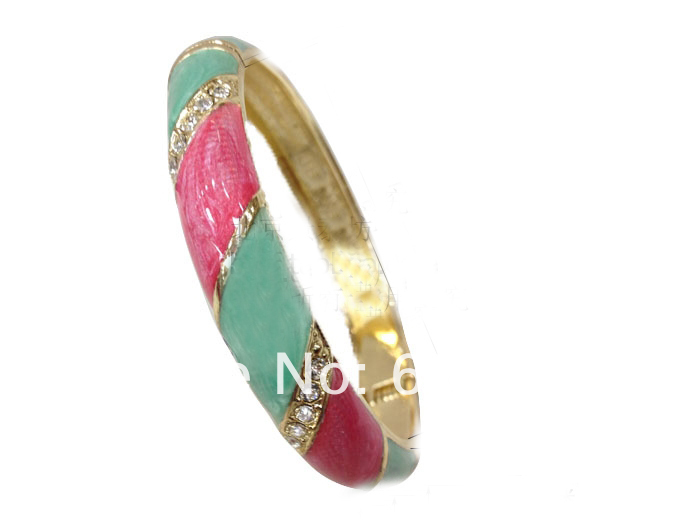Top grade Cloisonne Enamel Craft Gold Bracelets For Women rhinestone Fashion Simple Bangles Jewelry(China (Mainland))