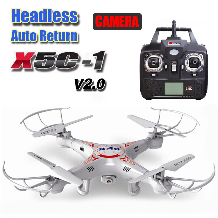 RC Quadcopter X5C-1 V2.0 Headless Autoreturn Mode 2.4G 4CH 6 Axis Remote Control Helicopter X5C X5 Drone With 720P HD Camera(China (Mainland))