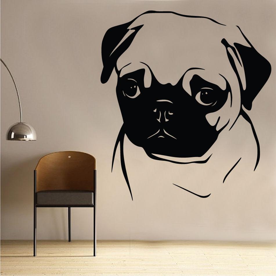 Pug Wall Sticker Art Kids Girls Riding Room Dog Animal free shipping(China (Mainland))
