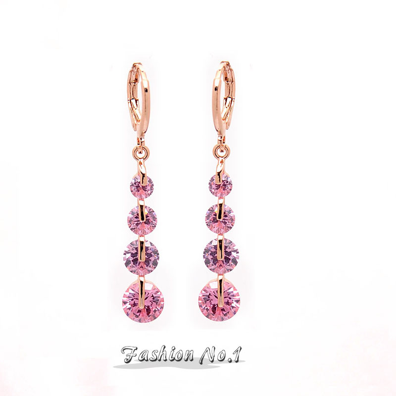 New Arriveal 6 Colors Drop Dangle Pierced Earrings Rose Gold Plated Fashion Earrings Jewelry Pink CZ Diamond Free Shipping