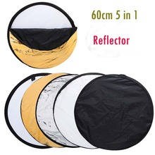 "24"" 60cm 5 in 1 Portable Collapsible Light Round Photography Reflector for Studio Multi outdoor photography(China (Mainland))"