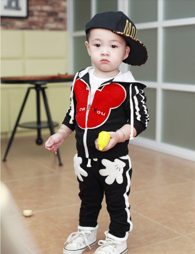 20`7 New Spring/Autumn sports children's set baby Boys girls clothing sets Minnie Kids Hooded Sweatshirts knit clothes - LittleSpring store